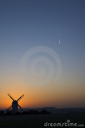 Windmill with con trail