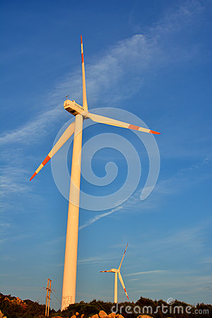 Windmill fan in field
