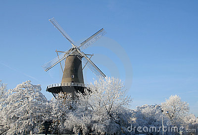 Windmill on frosty morning