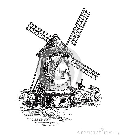 Windmill. Hand drawn vintage sketch vector illustration Vector Illustration