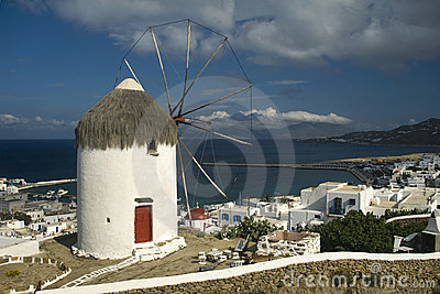 Windmill and harbour Mykonos
