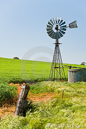 Free Windmill In Green Crops Southern Australia Stock Photo - 8177790