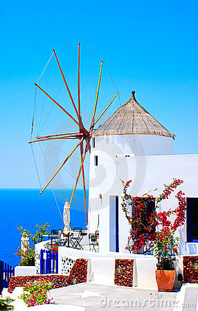 Free Windmill In Oia Village Stock Images - 22072544