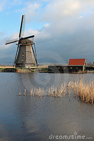 Windmill in Kinderdijk, The Netherlands