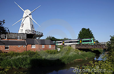 Windmill mill river england train
