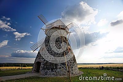 Windmill near rye fields