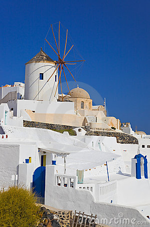 Windmill in Oia at Santorini island, Greece