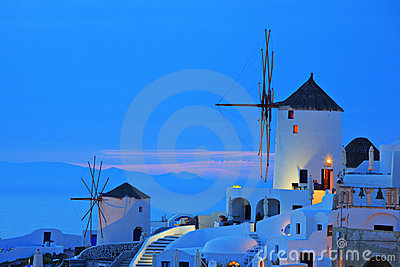 Windmill in Oia village on Santorini