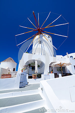 Windmill of Oia village at Santorini island