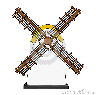 Free Windmill On White Background Royalty Free Stock Photos - 64365588