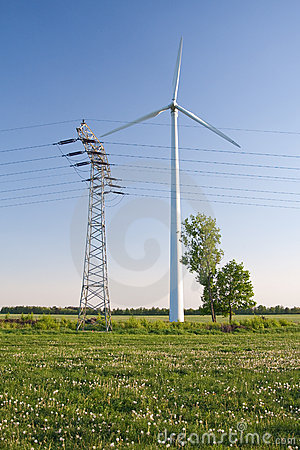 Windmill and powerlines