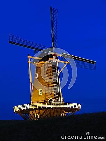 Windmill quiet at night.