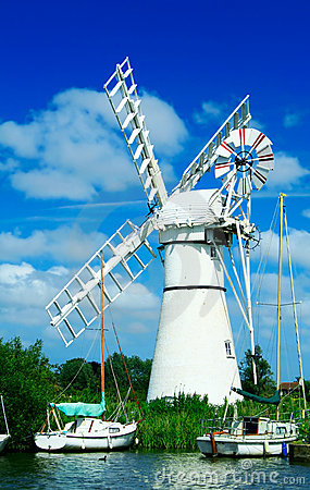 Windmill and sailing boats