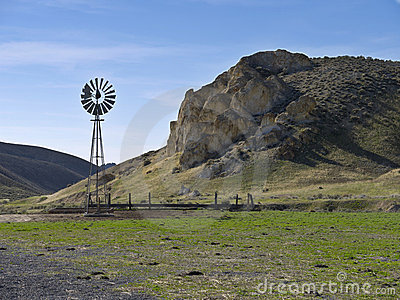 Windmill on a scenic ranch