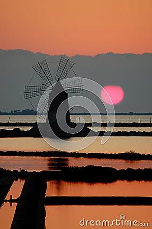 Windmill in a Sicilian saline (Marsala)