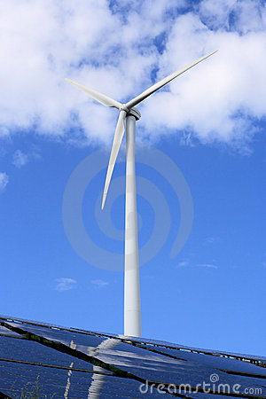 Windmill and solar panels