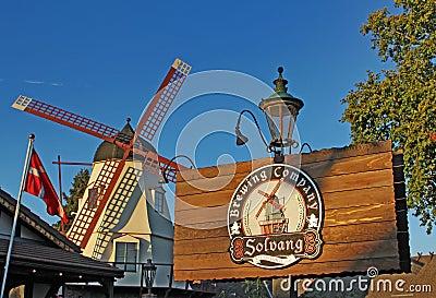Windmill at The Solvang Brewing Company California Editorial Photo