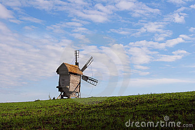 Windmill with a straw roof