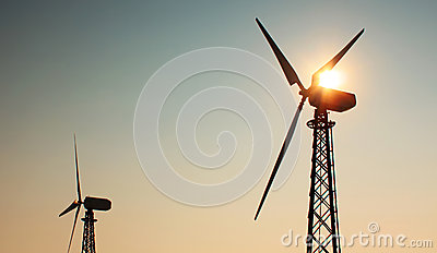 Windmill on sunset