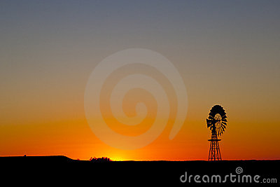 Windmill Sunset in Central South Australia