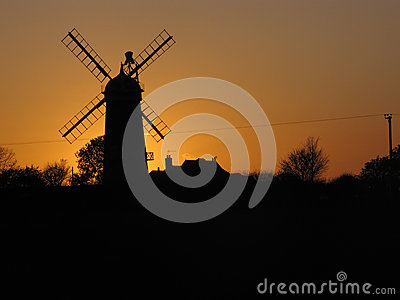 Windmill at sunset,
