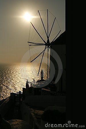 Windmill in the sunset (Santorini, Greece)