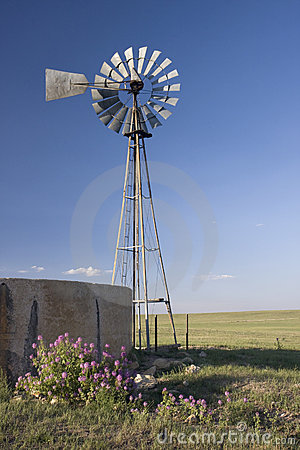Windmill, water pump and concrete tank in shortgra
