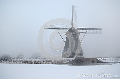 Windmill in winter in Holland