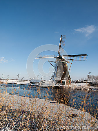 Windmill in winter setting