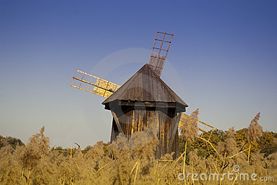 Windmill wooden traditional industrial