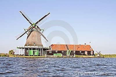Windmill at the Zaanse Schans in Netherlands