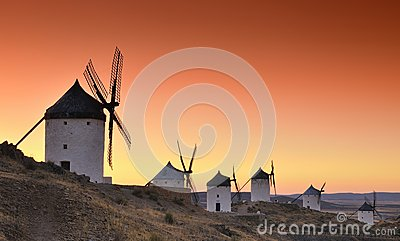 Windmills in Consuegra, Spain.