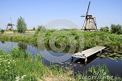 Windmills in Dutch landscape