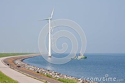Windmills and fishery ship