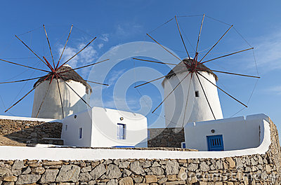Windmills of Mykonos island in Greece