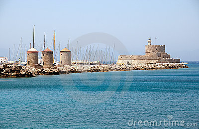Windmills at Rhodes harbor