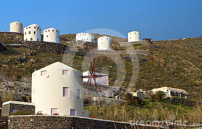 Windmills at Santorini island, aegean sea