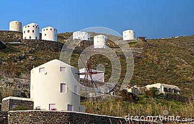 Windmills at Santorini island, aegean sea