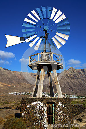Windmills and the sky in  isle of lanzarote