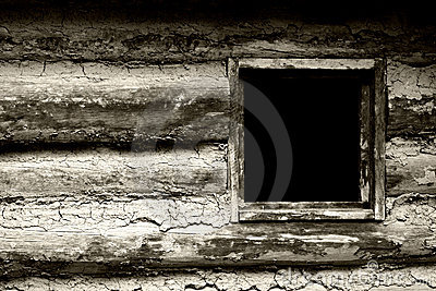 Window in 1800 s Frontier Homestead House (BW)