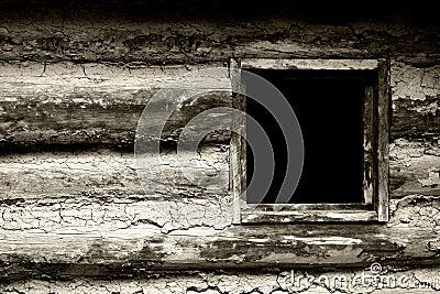 Window in 1800 s Frontier Homestead House (BW)