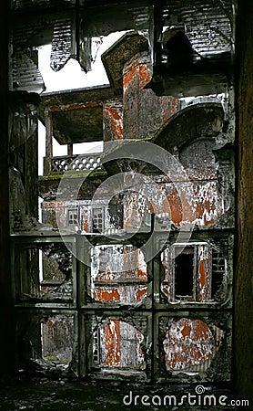 Window in abandoned hotel. Bokor Hill. Cambodia.