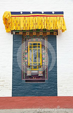 Free Window And Prayer Wheels At The Pemayangtse Monastery, Sikkim, India Stock Images - 63498954