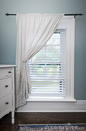 Window With Blinds And Curtain Royalty Free Stock Images