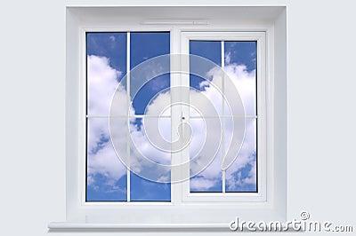 Window and blue sky