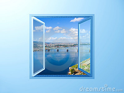 Window on the blue wall on river view