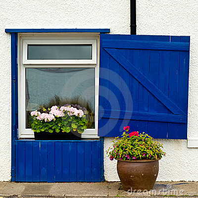 Window with blue wooden blinds and flowers