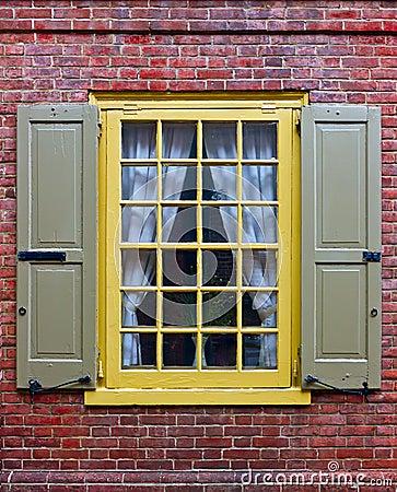A window in brick wall