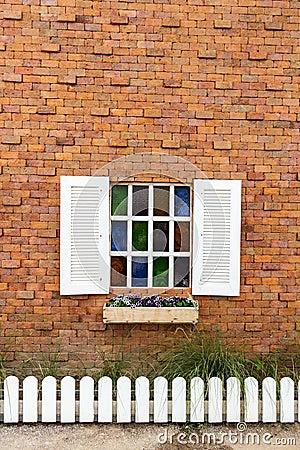 Window on brick wall.
