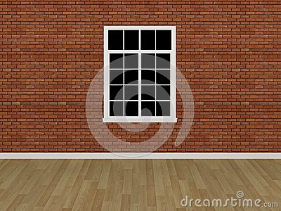 Window on brick wall ,3d